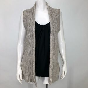 Cabi XS Sweater Vest Cable Knit Oatmeal Open Front